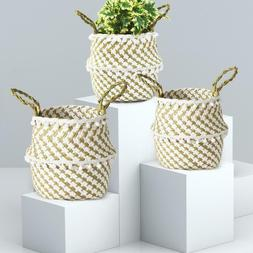 Storage Basket Rattan Straw Folding Decorative Flower Pot Se