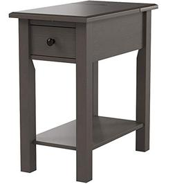 Sutton Brushed Grey Wood, MDF Side Table with Charging Stati