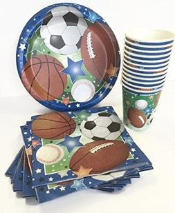 Sports theme Party Supply Kit - the set includes; paper plat