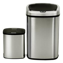 Set of 2 Trash Can 13 & 2.3 Gallon Touch-Free Motion Sensor