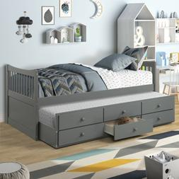 Twin Size Solid Wood Captain Bed with Trundle and Drawers Fo