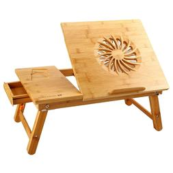 Universal Laptop Desk Adjustable Bamboo Table w/ USB Fan Fol