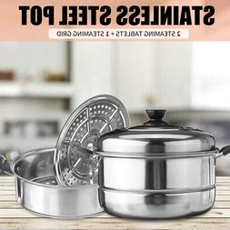 US 3 Tier Stainless Steel Steamer Induction Steam Steaming P