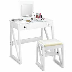 Vanity Dressing Table Set Flip Makeup Mirror Stool W/2 Drawe