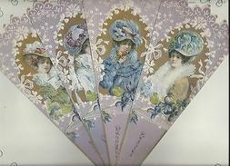 Old Print Factory Victorian Elegance Fan Greeting Card with