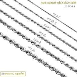 Stainless Steel Silver Rope Chain Bracelet Necklace Men Wome