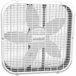 White Quiet 20 Box Fan Metal Patented Blade Removable Front