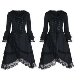 Women Festival Gothic Laceup Dress Medieval Witch Fancy Part