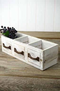 "Richland Wood Drawer Planter Box Drawer 3 Compartments 13"" H"