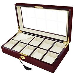 Wooden Display Case Storage 10 XL Watch Watches Jewelry Box