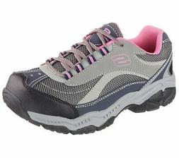 Skechers Work Shoes Gray Pink Women's Memory Foam Slip Resis
